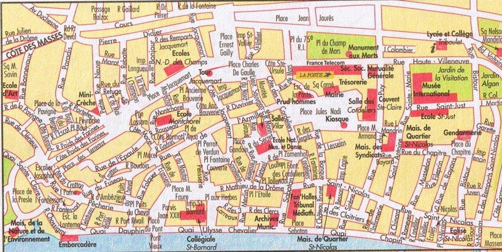 Plan - adresse du cercle - venir à Romans plan-romans-centre-ville1